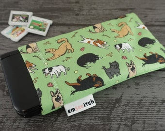 Peppy Puppers Cute Dog Breeds Animal Patterned Nintendo 3DS, New 3DS, 3DS XL, New 3DS XL, New 2DS XL Fabric Pouch Case