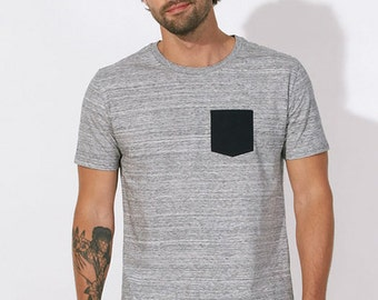 TEE man 100% Organic Cotton soft heather gray flamed fair - contrasting black pouch pocket -