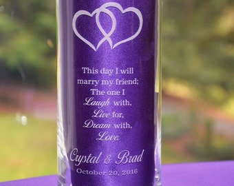 Custom Engraved Glass Wedding Candleholder Personalized with Bride and Groom's Names - Three Sizes Available (#3)