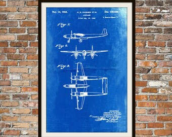 Blueprint Art of Patent 139438 Hughes PlaneTechnical Drawings Engineering Drawings Patent Blue Print Art Item 0051
