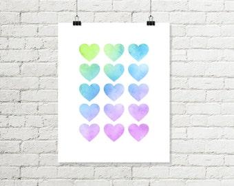 Watercolor Hearts Print, Rainbow Hearts Printable Wall Art, Green Blue Pink Baby Nursery Print 8x10 Sign Instant Digital Download