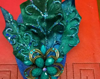 Royal blue and green fascinator