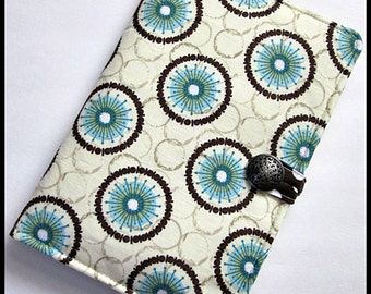Kindle 3 Latest Generation or Nook (Older Generation) Padded Cover/Case - Fun Chocolate, Beige, Blue and Green Circular Floral Design