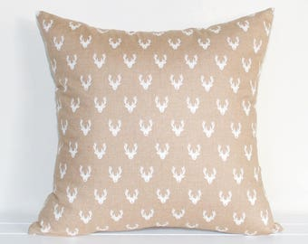 Rudolph the Red Nose Reindeer Christmas Cushion Cover in Beige and Cream