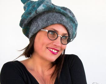 Stylish Felt Hat - Felted  Woman Millinery Hat - Gray Green Blue Headsculpture - Made in Paris