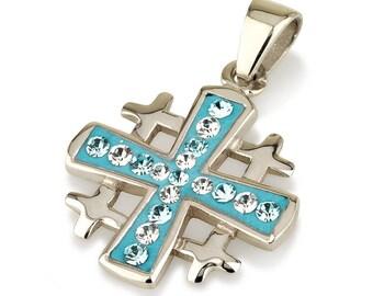 Jerusalem Cross Pendant Sterling Silver 925 With Light Blue Gemstone