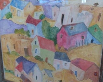 "New Mexico Village.  2007 Original Watercolor on Paper.  Approximately 12""x16"".  Offered framed or unframed."