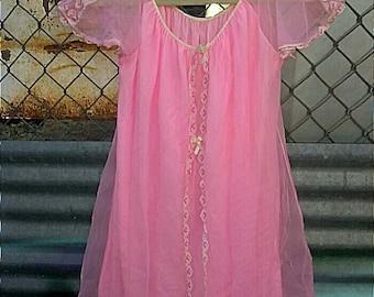 Vintage Pink Nightgown Babydoll Nightie 60s