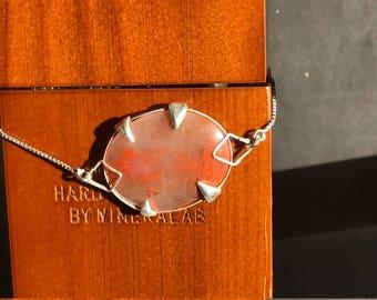 Large Orange Plume Agate Bracelet with custom Sterling Silver Adjustable chain