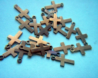 Vintage Copper Cross Dangles / Finding x 12  FF 17