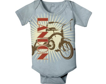 Baby Boy Bodysuit, Personalized Tricycle Infant One Piece, Custom Onepiece Baby Clothing