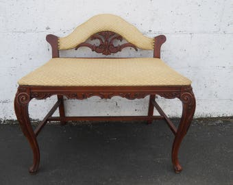 French Carved Upholstered Stool Vanity Bench 8672