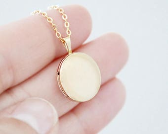 Round Gold Locket Heirloom Necklace - Small 14K Gold Filled