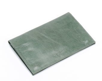 green leather wallet women - leather credit card wallet - leather bifold wallet - womens wallet - envelope wallet - gift for her - ROXANNE