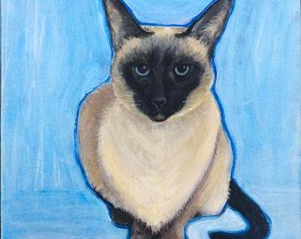 "Custom Pet Portrait 12"" x 12"" in Acrylics on Canvas"