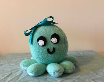 Light Teal/White Stuffed Octopus Plush with Teal Ribbon