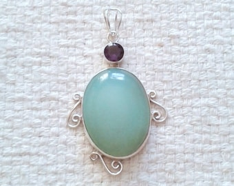 Chalcedony and Faceted Amethyst Sterling Silver Pendant                                                               04/18