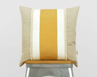 Bohemian fringe decorative throw pillow case, 5 sizes mustard yellow, white and natural beige colorblock, boho chic color block Cushion