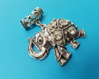 1, Elephant Pendant, Rhinestone Elephant, Elephant Jewelry, Animal Jewelry, Tibetan, Elephant, Antique Silver, Pendants, Crystals, #10