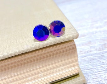 Small Lightweight Purple Blue Iridescent Faceted Resin Rhinestone Stud Earrings with Surgical Steel Posts (SE20)