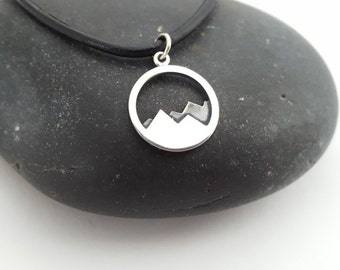 Sterling Silver Mountain Range Necklace - Adventure Awaits Pendant Hiker Climber