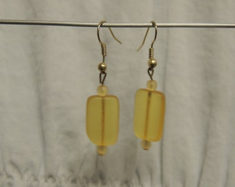 Frosted Yellow  Bead Earrings