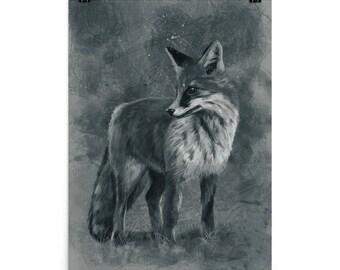Fox Greyscale Illustration Art Print