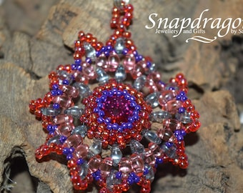 Captured Rivoli beaded mandala pendant