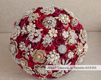 Brooch bouquet. Cherry and Gold wedding brooch bouquet, Jeweled Bouquet.