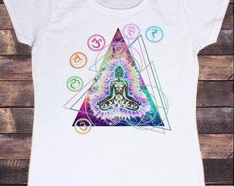 Womens White T-Shirt Om Aum Jade Flame Buddha Meditation Tie Dye Print TS284