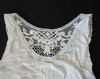 Vintage White Lace Bohemian Boho Tank Top Romantic Festival Summer Fashion White top Lace top Size Small