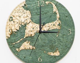 Cape Cod Wood Carved Clock