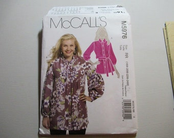 McCall's M5976 Misses' Tunic and Belt, Plus Size Sewing Pattern 2009