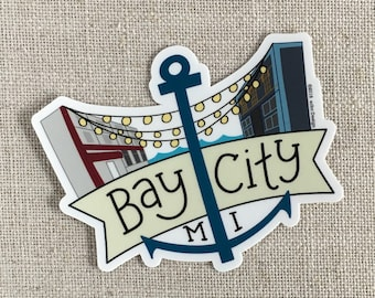 Bay City Anchor Vinyl Sticker / Bay City Michigan / Water Bottle Sticker / Fun Laptop Sticker / Waterproof Sticker / Cool Travel Sticker
