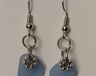 Lake Erie cornflower blue beach glass earrings.