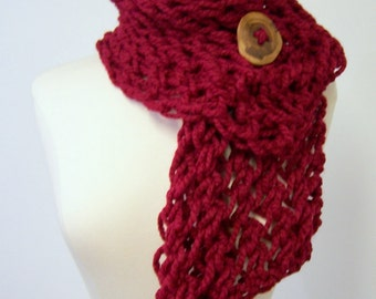 Chunky Knit Button Scarf In Red, Big Knit Button Scarf, Chunky Knit Scarf With Button, Button Scarf in Cranberry Red, Fall Fashion Trends
