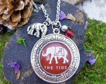 University of Alabama football necklace, Alabama elephant, Crimson Tide jewelry for her, Roll Tide, Alabama jewelry for mom, Christmas gifts