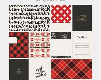 Navidad revista tarjetas proyecto vida tarjetas diciembre diario leñador Buffalo planificador de Plaid tarjetas imprimibles insertos proyecto vida Digital