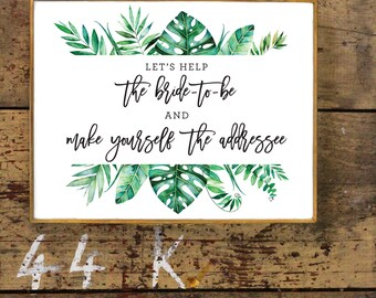 Tropical 'Help The Bride-To-Be' Envelope Sign | Landscape Tropical Bridal Shower Sign | Greenery Leaves Wreath | Printable, Instant Download
