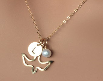 Confirmation gifts for girls - Gold  Dove Initial Neckalce - Dove Necklace - Bird Necklace with Initial Freshwater Pearl - Bird necklace