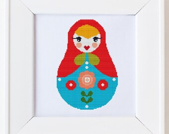 Counted cross stitch pattern, Instant Download, Free shipping, Cross-Stitch PDF, Russian Doll