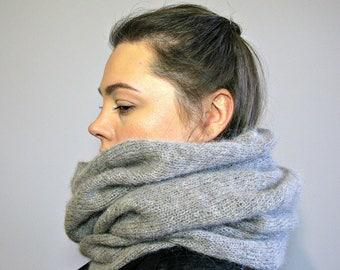 Women scarf gray Hood cowl Knit snood Hooded scarves Knit alpaca scarf Infinity scarf gray Knit scarf cowl Clothing-gift for girlfriend