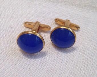 Hickok Blue Glass Cuff Links
