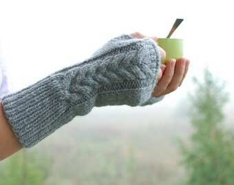 Knit fingerless gloves handmade of organic merino wool - arm warmers eco