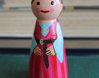 "Pink Princess Peg Doll - Large 3.5"" size"