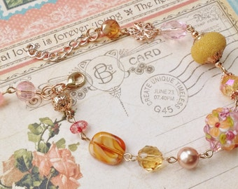 "Rose and Golden Vintage Style Rose Gold Beaded Bracelet ""VICTORIAN ROSE GARDEN"" Neo Victorian Jewelry Artistic Jewelry Unique Jewelry"