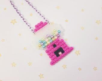 Kawaii Gumball Machine Perler Necklace - Fairy Kei Decora Yumekawaii Harajuku inspired
