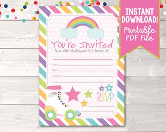 Fill In Roller Skating Party Invitations Printable Girls Birthday Party Painting Invitation INSTANT DOWNLOAD