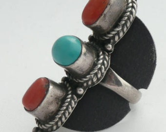 Vintage Silver Ring con Coral and Turquoise,