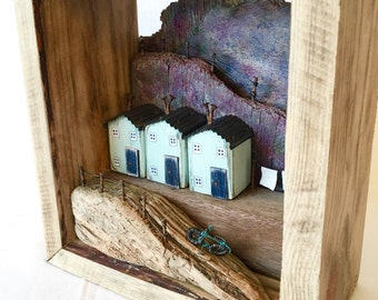 Driftwood Art* Driftwood Sculpture* Recycled Wood Art* Little wooden houses* Diorama* Coastal Art* Unusual Home Decor* Wire Art* Wire work